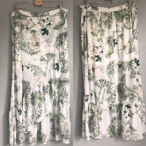 New York & Company Leaf Boho Tiered Maxi Skirt